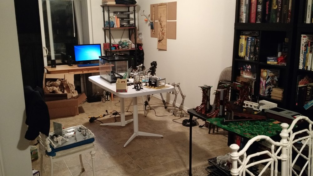 The film studio (my kitchen), the night before animation began