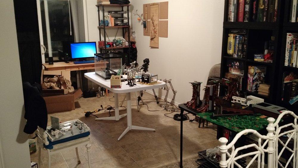 The film studio (my kitchen), the night before animation began