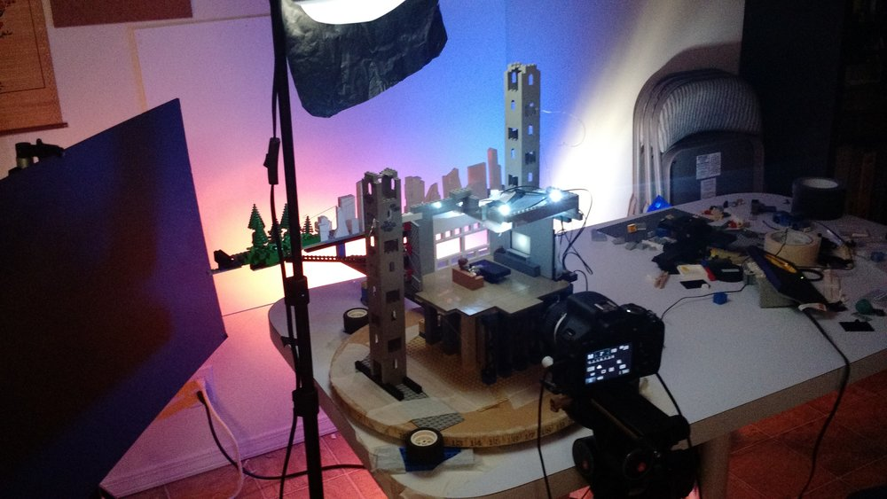 One of the rotating sets, complete with dusk lighting