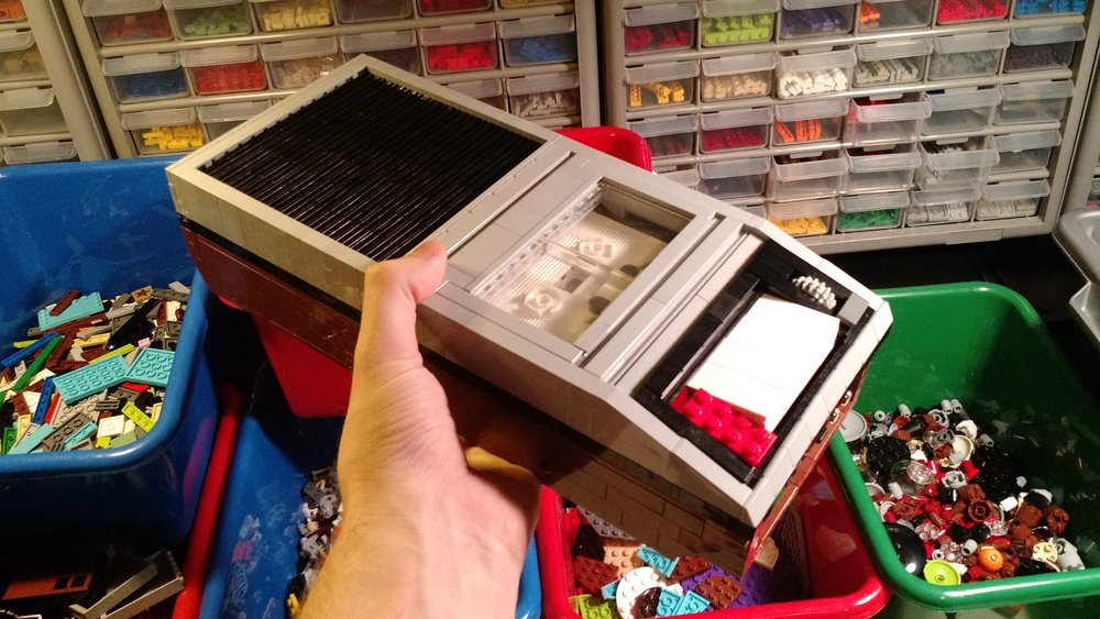 The life-size LEGO tape recorder, complete with cassette tape.