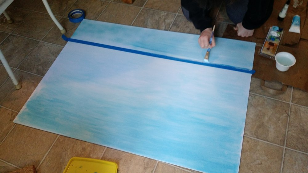 painting the backdrop on foamcore
