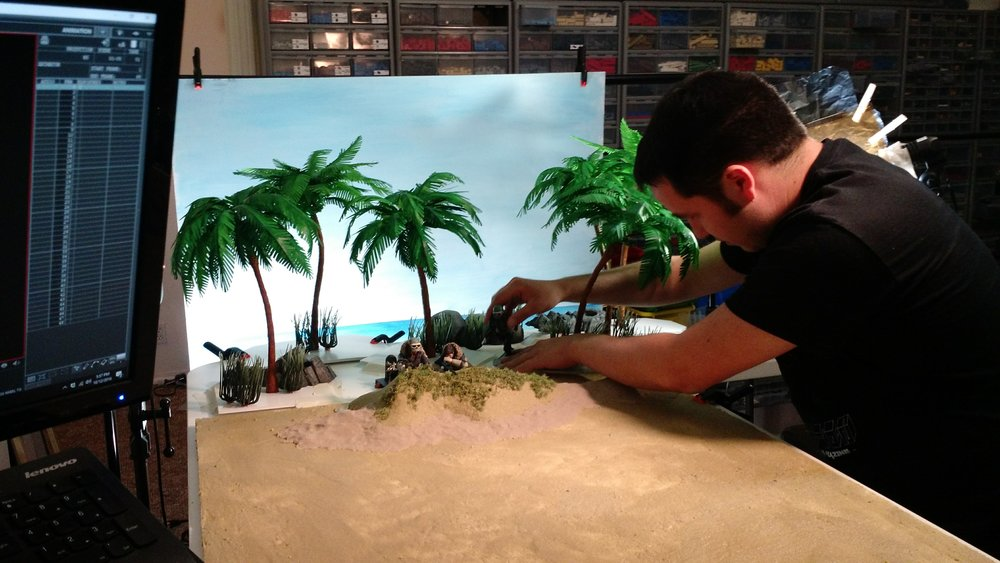 Zach animates a beach shot with the rebels