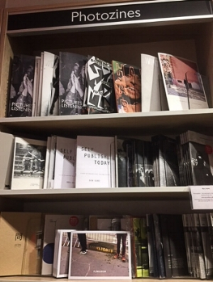 Close-up of the extensive zine section in Foyles.