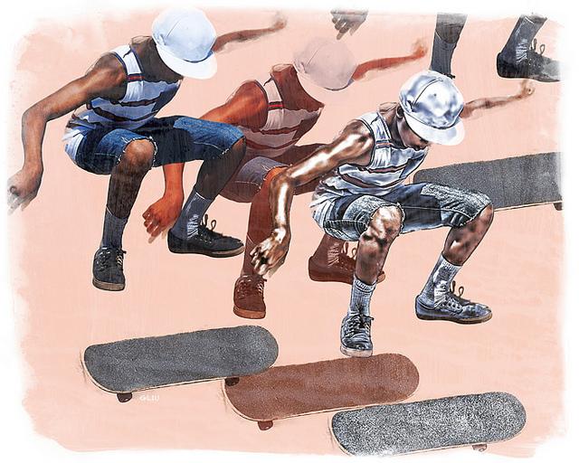 Venice Beach Skaters,archival pigment on printmaking rag.