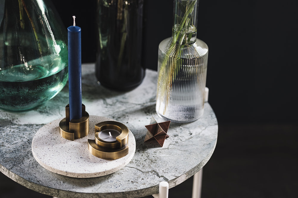 Circular candle holders and Merkaba paperweight by VAU