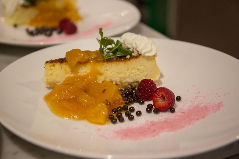 Bridget Elkin- Mascarpone Cheesecake with Caramelized Peaches.jpg
