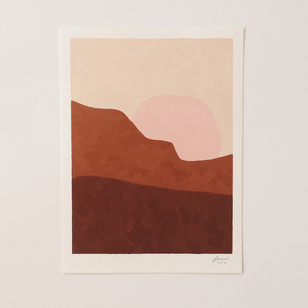 SUNDOWN  oil on paper, 9in x 12in (2018)  Collaboration with Market Collective SOLD
