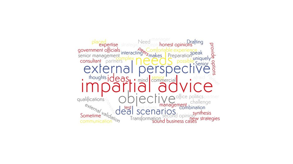 A word cloud emphesizing Salève Energy Partner's expertice in being a sparring partner for management