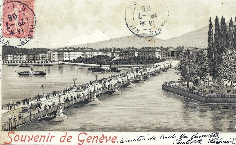 Vintage postcard of Geneva of the Ile de Rousseau and the Mont Blanc bridge and in the background the Salève and the Mont Blanc.