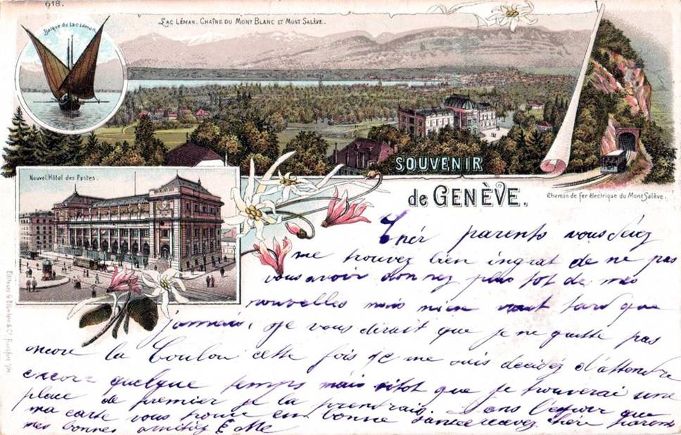 Vintage postcard of Geneva with hand-written text and hand-drawn view over Geneva and the Salève.
