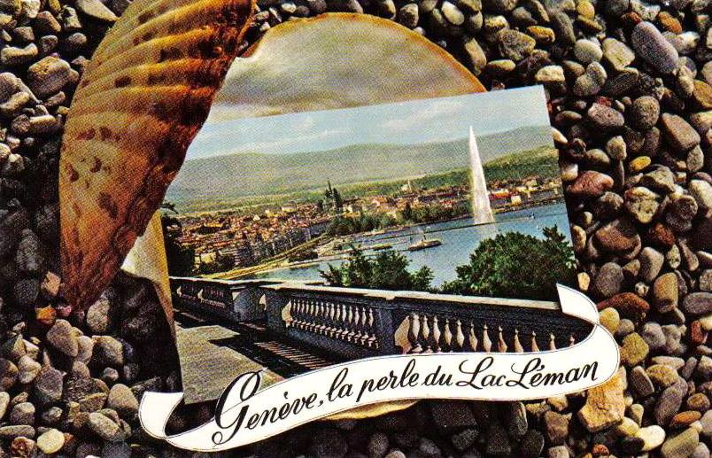 Vintage postcard of Geneva, La perle du Lac Léman with a small picture of view over Geneva and the Salève; inside a shell with the words Genève