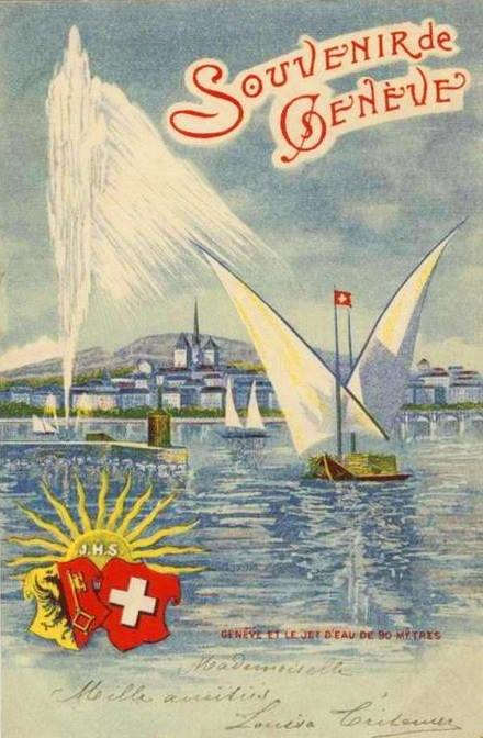 Vintage postcard of Geneva, Souvenir de Genève, with a hand-drawn view of a sail boat on Lac Léman, the Jet d'Eau and the Salève.