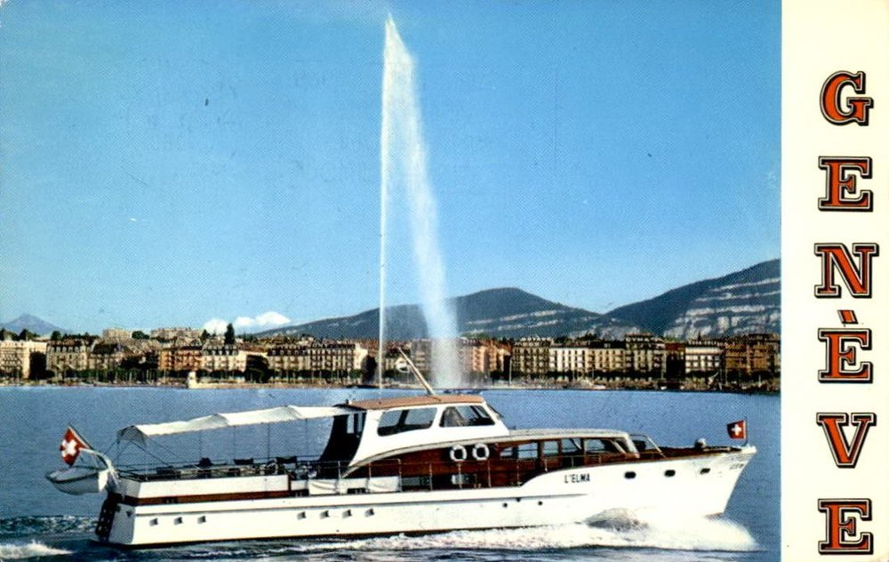 Vintage postcard of Geneva with the view of a navette, the Jet d'Eau and the Salève.