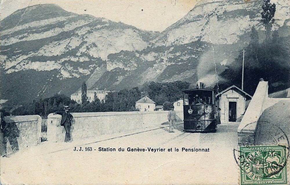 Vintage postcard of Geneva with a view of the Veyrier station of the Chemin de Fer du Salève.