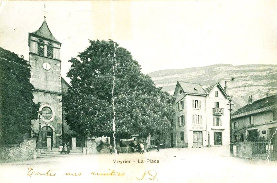 Vintage postcard of Veyrier town square with the Salève in the background.