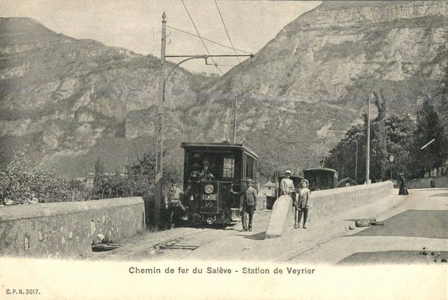 Vintage postcard of Geneva with a view of the Chemin de Fer du Salève.