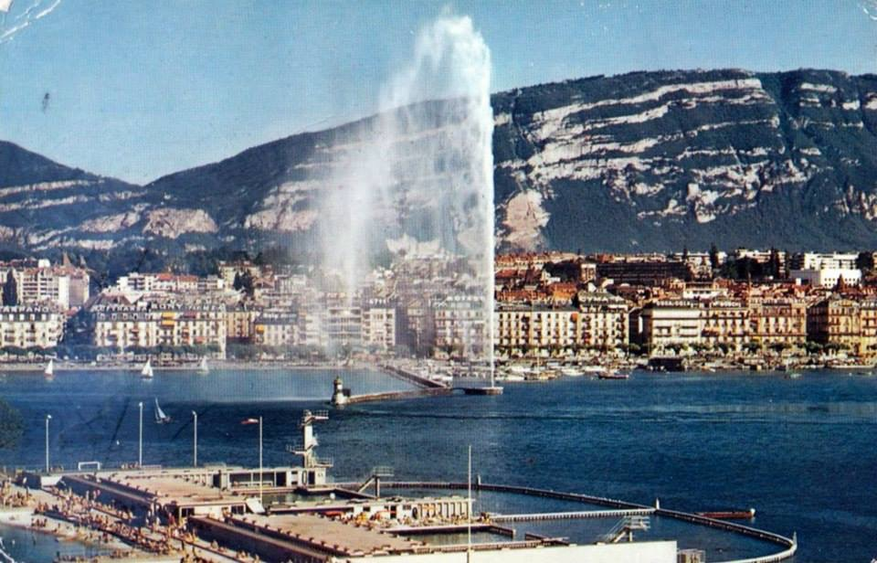 Vintage postcard of Geneva with a view of the Jet d'Eau and the Salève.