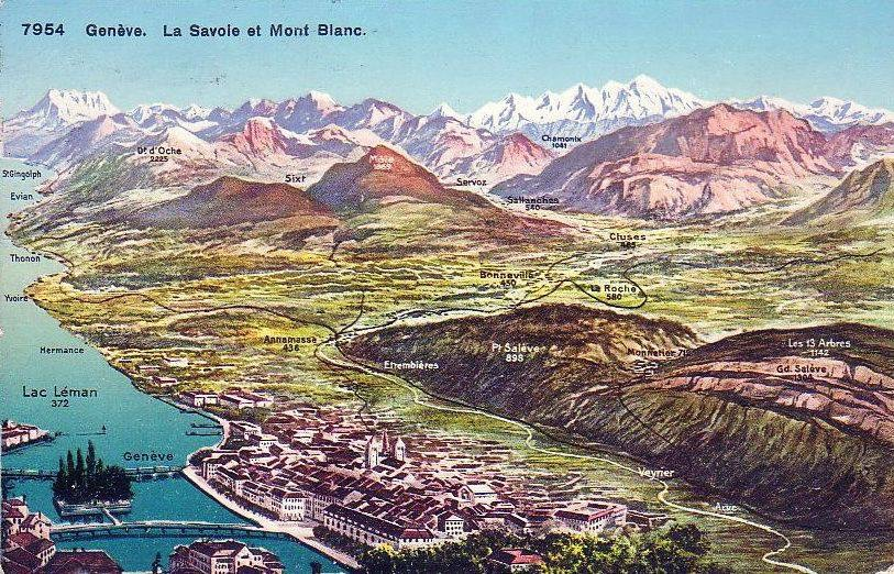Vintage post of Geneva with a ski map-type image of the Salève and the mountains surrounding the Mont Blanc.