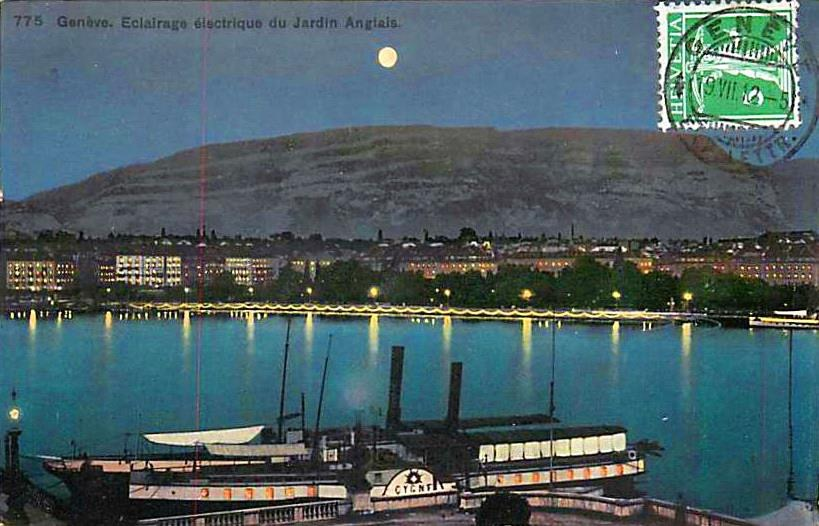 Vintage view of Geneva with a view over Lac Léman and a paddle boat, the Jardin Anglais and the Salève by moonlight.