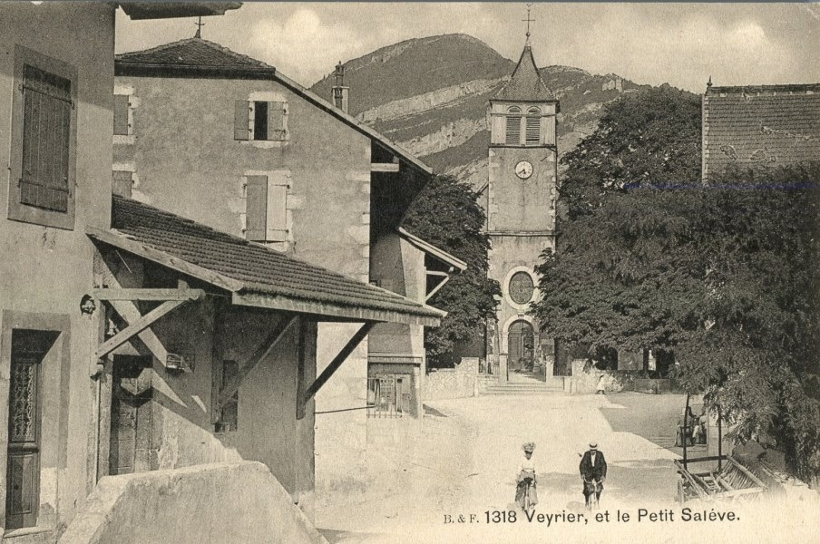 Vintage postcard of Veyrier town square and the town church with the Salève in the background.