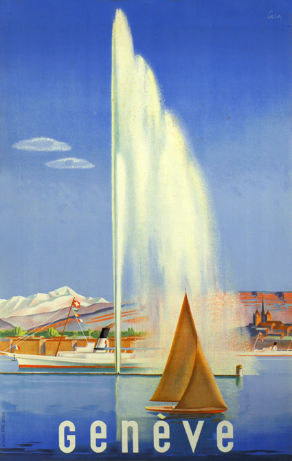 Vintage poster of Geneva of Lac Léman, a traditional sail boat, the Jet d'Eau and the Salève in the background.