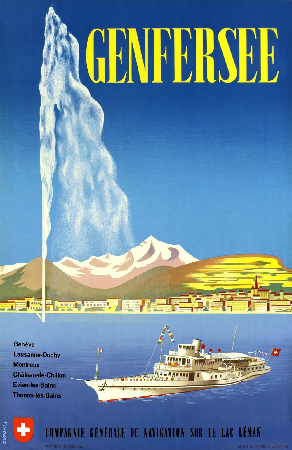 Vintage poster of Geneva of Lac Léman, a paddle boat, the Jet d'Eau and the Salève and the Mont Blanc in the background, in German.