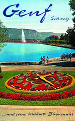 Vintage poster of Geneva of the Flower Clock, Lac Léman, the Jet d'Eau and the Salève in the background, in German.