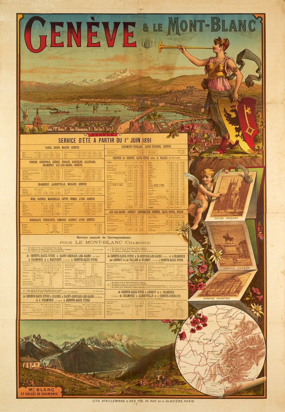 Vintage poster of the time table of the Chemin de Fer Geneva – Mont Blanc.