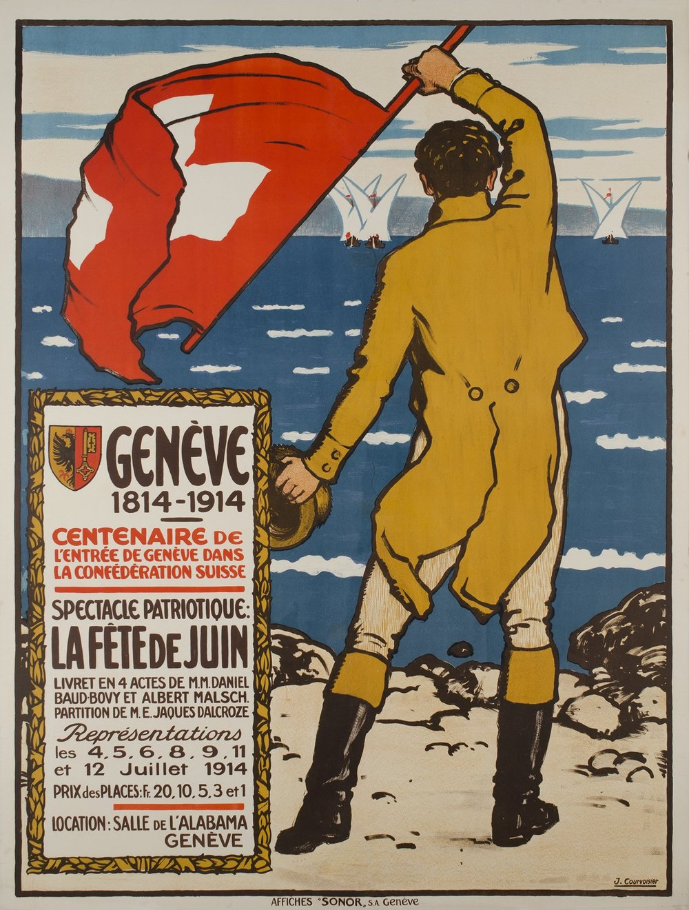 Vintage poster of Geneva: Lac Léman and sail boats.