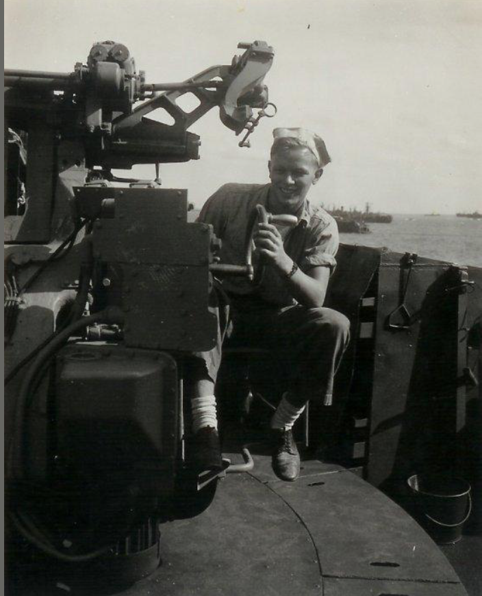 Pete McCombs at battle station turret gun