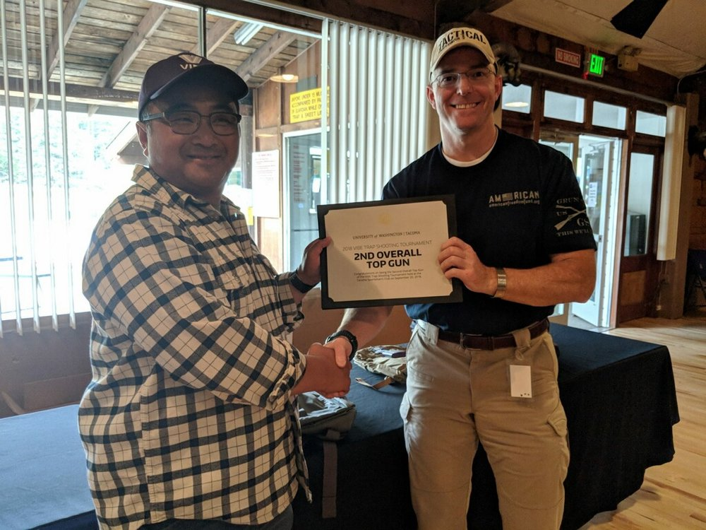 Maj. Rob Miller takes 2nd Overall Top gun at the University of Washington's Veterans Incubator for Better Entrepreneurship Inaugural Trap Shooting event 20 September, 2018.