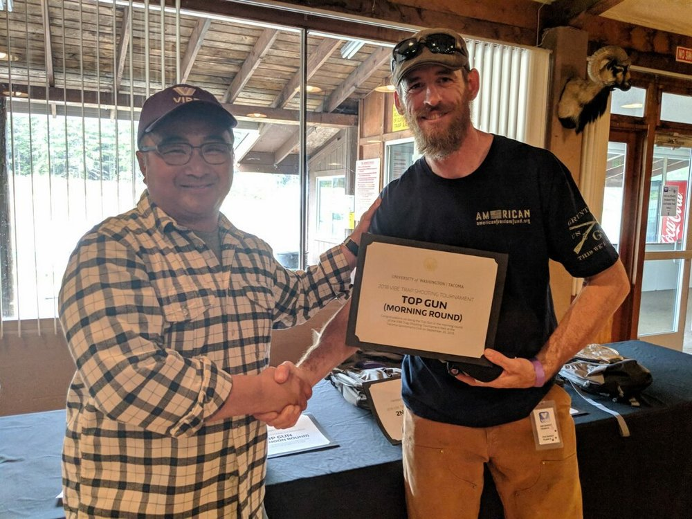 Jayson Legg wins Top Gun for the morning round at the University of Washington's Veterans Incubator for Better Entrepreneurship Inaugural Trap Shooting event 20 September, 2018.