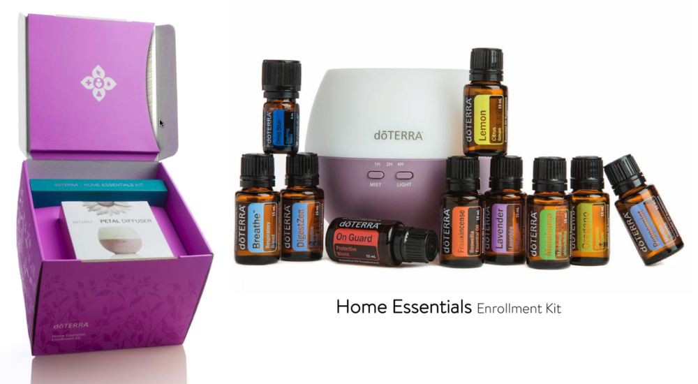 Home Essentials - You get the Top 10 Essential Oils that every home needs, a beautiful diffuser, and a welcome packet. Plus, you get a 1 year membership to purchase doTERRA at 25% off and a 1 hour wellness overview with me.    Investment of $330.00 CAD + Tax