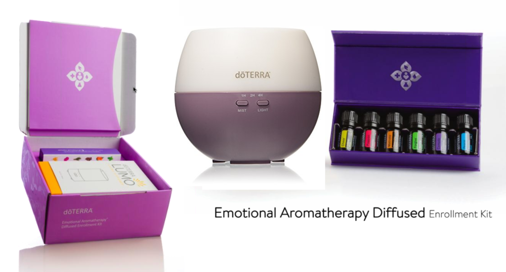 Emotional Aromatherapy - You get the Top 6 Diffuser Blends, a beautiful diffuser, and a welcome packet. Plus, you get a 1 year membership to purchase doTERRA at 25% off and a 1 hour wellness overview. Investment of $248.00 CAD + Tax