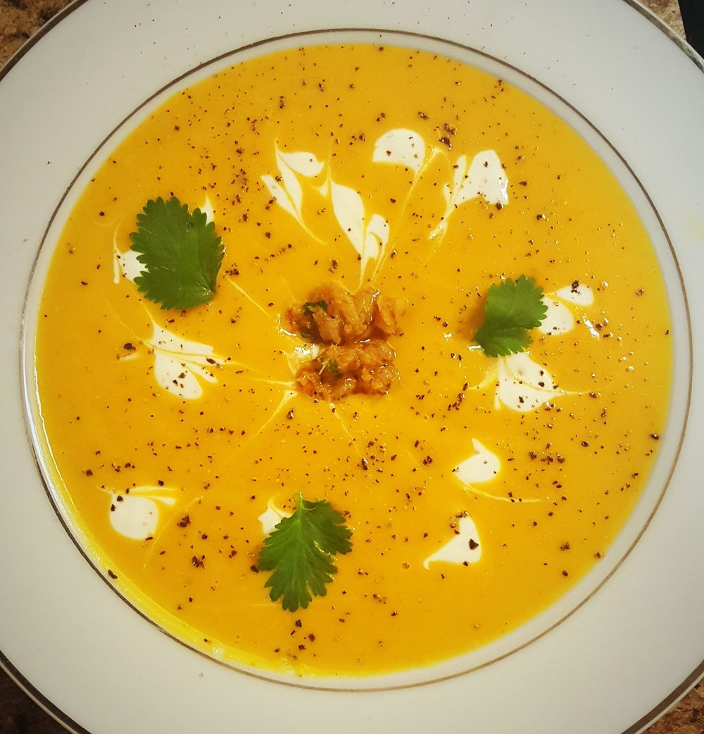 Pumpkin Miso Soup with Thai chili paste and lime crema