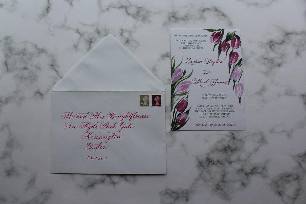 Tulips invite with calligraphy envelope.jpg
