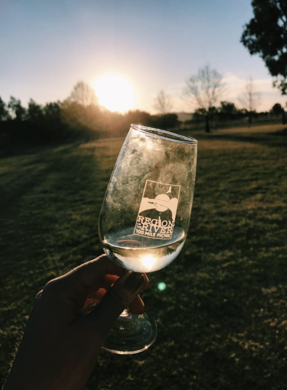 A glass of Mudgee's finest Muscato as the sun sets