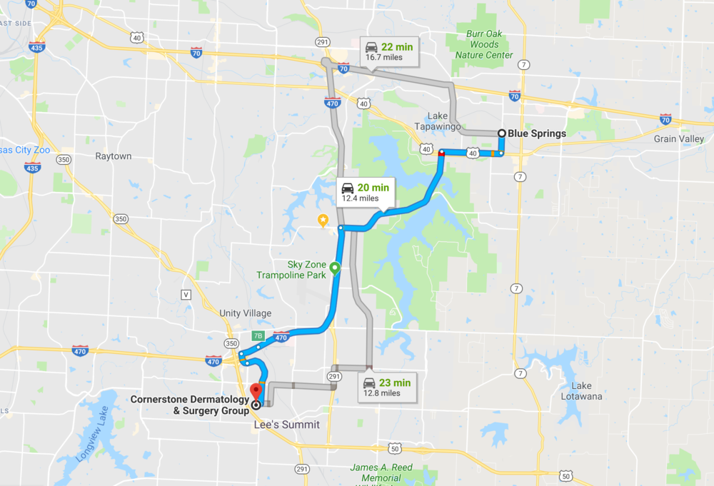 Click the map for directions from Blue Springs