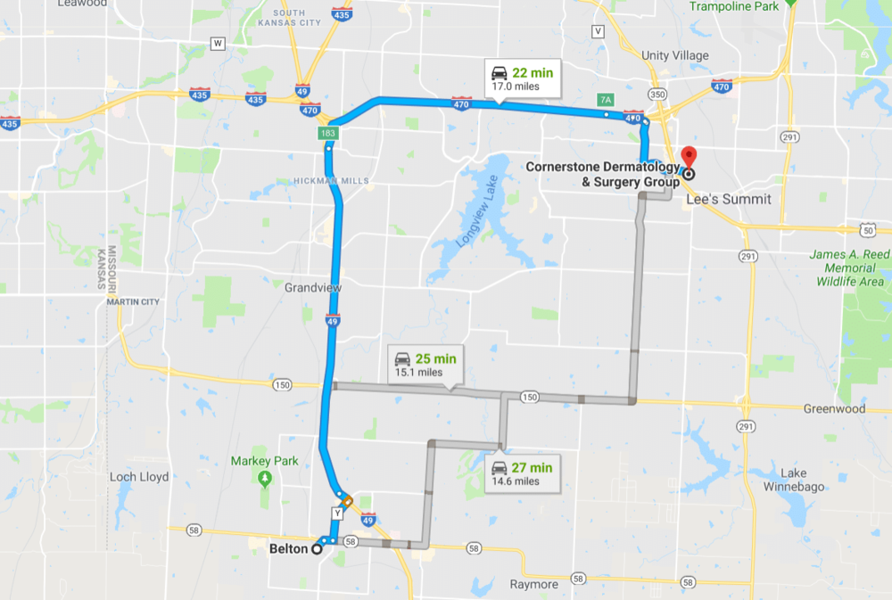 Click the map for directions from Belton, Missouri