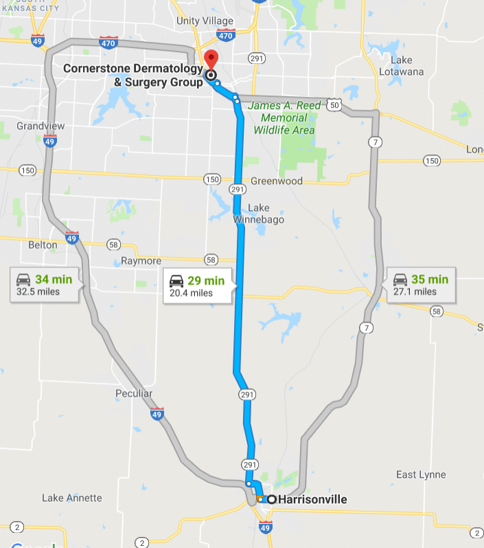 Click the map for directions from Harrisonville