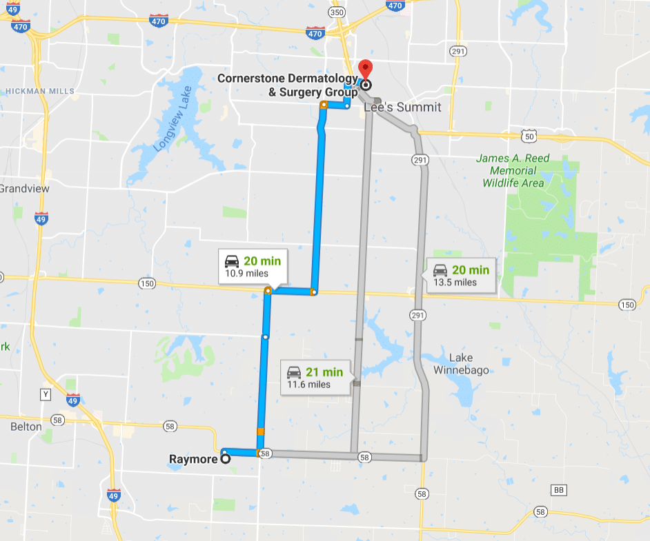 Click the map for directions from Raymore Peculiar Missouri