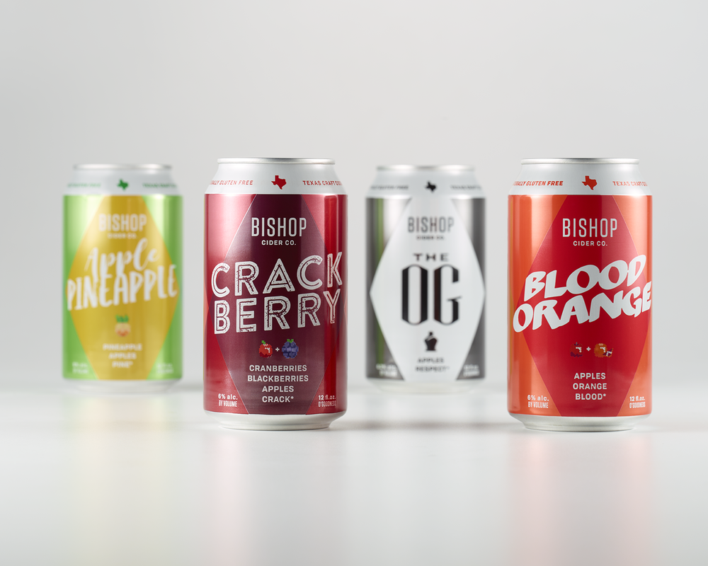 FOUR AT A TIME - We are always producing four ciders in 12oz cans. Crackberry (cranberry & blackberry) is our best-seller. Apple Pineapple is an acidic cider loaded with real pineapple. The OG is a throwback cider to Joel and Laura's home-cidermaking days. Blood Orange is mimosa-like and heavy on the citrus.
