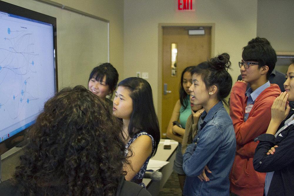 Workshop participants interpreting the cognitive map.
