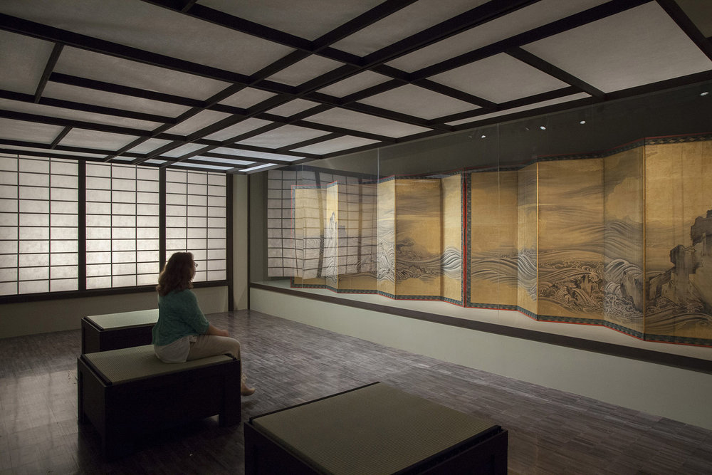 In The Moment: Japanese Art From The Larry Ellison Collection, San Francisco Asian Art Museum   Sound Design & Audio Installation  Changing light and sound was used in a special viewing room to simulate time passing through the four seasons, lending new context to viewing of this incredible artwork.  Two stereo digital audio repeaters were linked to create an affordable quadraphonic program. Four corner speakers were hidden behind side screens which helped diffuse the sound field while maintaining a decent amount of directionality.  All sounds used were gathered  in Japan for the album  Natural Sounds of Japan .