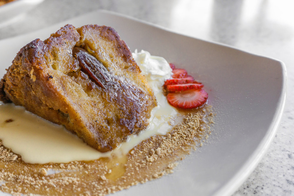 We bet you can't have just one bite of Rose's peach and date bread pudding…