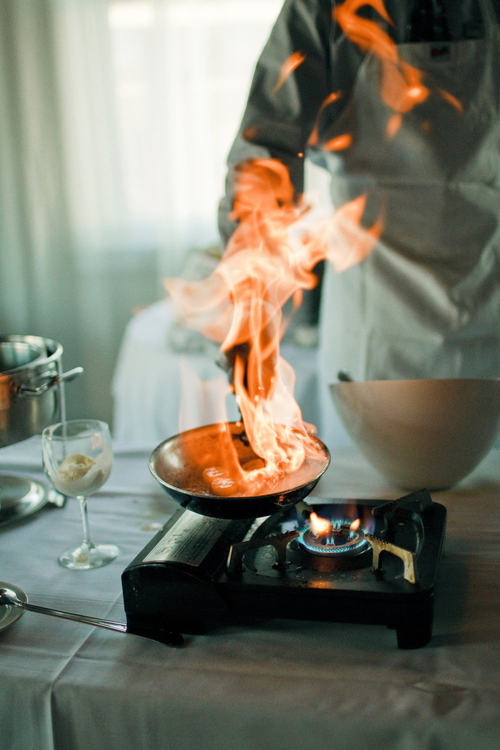 Your wedding reception will be fire with a bananas foster station!