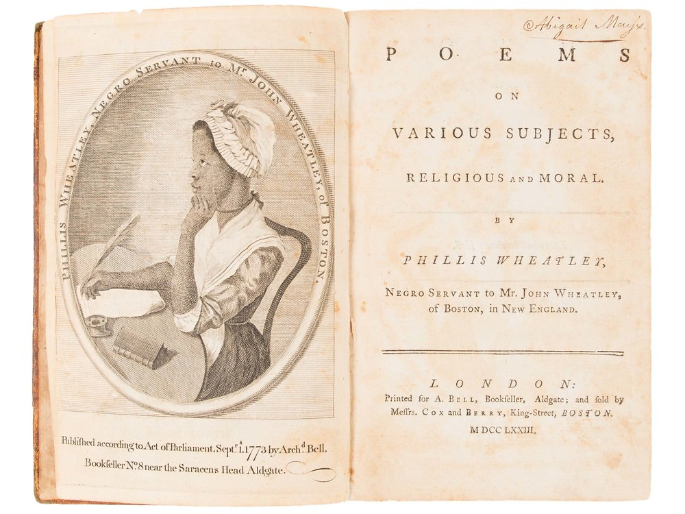 Phillis Wheatley, Poems on Various Subjects, Religious and Moral, 1773