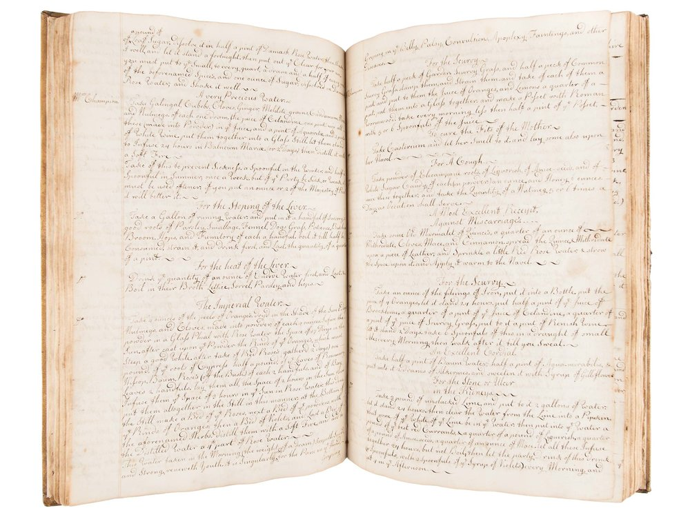Anne Burton manuscript cookbook with medicinal recipes, 1742