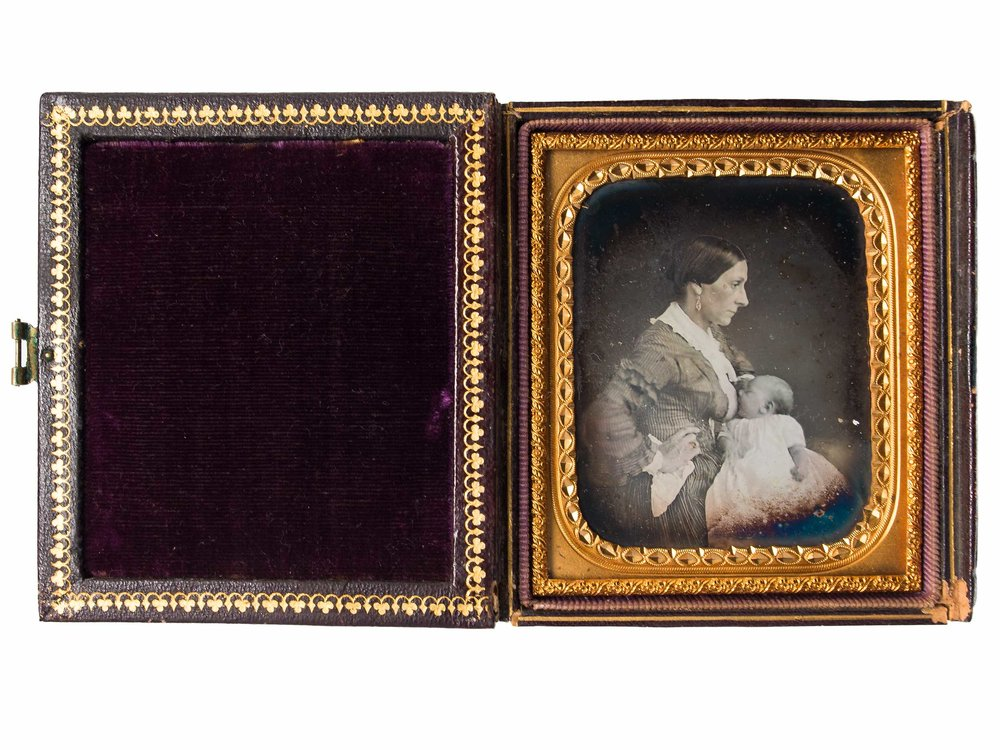 Daguerreotype of a woman breast-feeding, ca. 1850