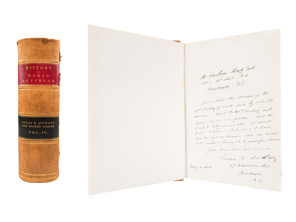 History of Woman Suffrage with Susan B. Anthony inscription, 1902